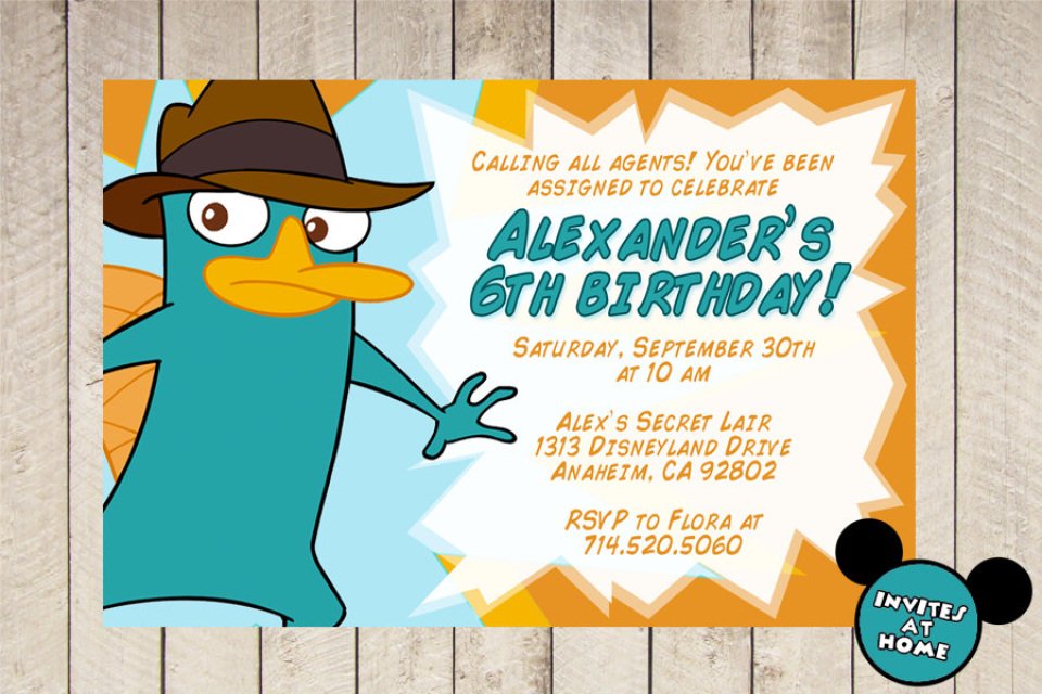 phineas and ferb perry agent p the platypus birthday boy party
